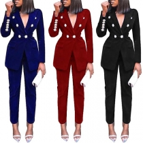 OL Style Solid Color Double-breasted Blazer + Suit Pants Two-piece Set