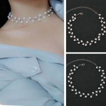 Fashion Imitation Pearl Inlaid Choker Necklace