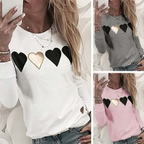 Fashion Heart Patched Long Sleeve Round Neck Top(It runs small)