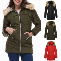 Fashion Solid Color Faux Fur Spliced Hooded Slim Fit Padded Coat