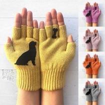 Strickhandschuhe Handschuhe mit Hunde- und Knochen-Motive