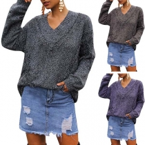 Retro Style Long Sleeve V-neck Tassel Sweater