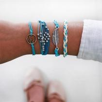 Bohemian Style Leaf Beaded Braided Bracelet Set 4 pcs/Set