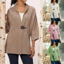 Fashion Solid Color 3/4 Sleeve Loose Cardigan
