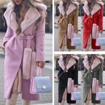 Fashion Long Sleeve Faux Fur Collar Woolen Coat with Waist Strap