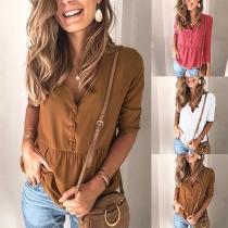 Fashion Solid Color 3/4 Sleeve V-neck Blouse