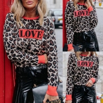 Fashion Leopard Printed Long Sleeve Round Neck Sweatshirt