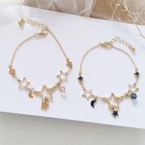 Simple Style Star Crescent Pendant Bracelet