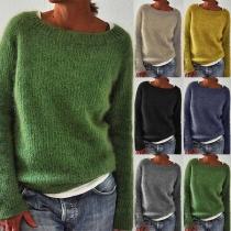 Einfacher Pullover mit Langen Ärmeln Rundhalsausschnitt und Volltonfarbe