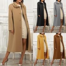 Elegant Solid Color Long Sleeve Single-breasted Woolen Coat