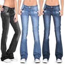 Fashion Middle-waist Slim Fit Denim Flared Pants