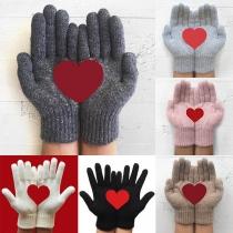 Strickhandschuhe Handschuhe mit Herzmuster