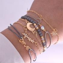 6-teilige Armbänder Set - 5 Armbandketten und 1 Perlenarmband