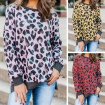 Fashion Leopard Printed Long Sleeve Round Neck Loose Sweatshirt