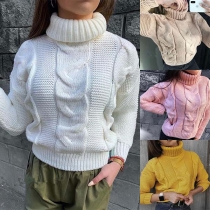 Fashion Solid Color Long Sleeve Turtleneck Sweater