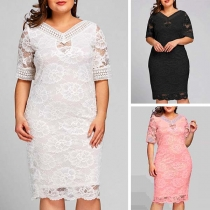 Sexy Short Sleeve V-neck Slim Fit Lace Dress