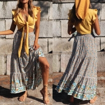 Fashion High Waist Printed Maxi Skirt