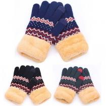 Strickhandschuhe Handschuhe mit mit Norweger-Dessin