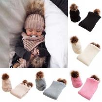 2-tlg. Strick-Set Strickbeanie und Schal für Babys - mit Kunstfell Bommels