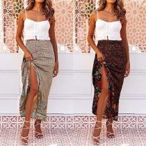 Fashion High Waist Irregular Hem Printed Skirt