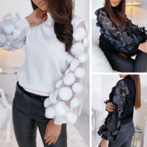 Sexy Gauze Spliced Puff Sleeve Mock Neck Top