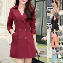 Fashion Solid Color Long Sleeve Double-breasted Windbreaker Coat