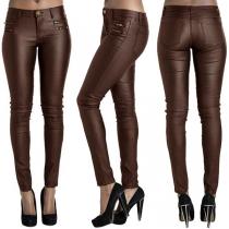 Fashion High Waist Slim Fit PU Leather Pants