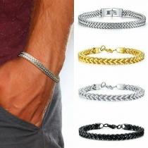 Simple Style Stainless Steel Man's Bracelet