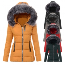 Fashion Solid Color Long Sleeve Faux Fur Spliced Hooded Padded Coat