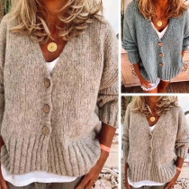 Fashion Solid Color Long Sleeve V-neck Loose Knit Cardigan