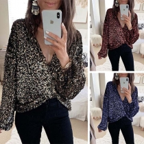 Sexy Crossover V-neck Long Sleeve Sequin Top