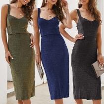 Sexy Backless V-neck Slit Hem Slim Fit Sling Dress