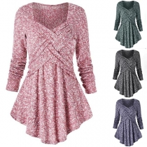 Fashion Mixed Color Long Sleeve Square Collar Irregular Hem Knit Top