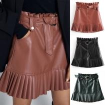 Fashion Solid Color High Waist Pleated Hem PU Leather Skirt with Waist Strap