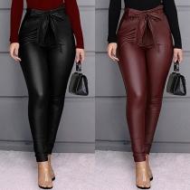 Fashion High Waist Slim Fit PU Leather Pants with Waist Strap