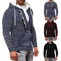 Fashion Mixed Color Long Sleeve Hooded Man's Knit Top