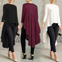 Fashion Solid Color Long Sleeve Round Neck High-low Hem Top