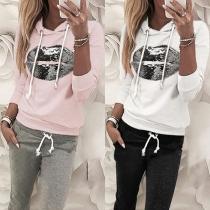 Fashion Sequin Lip Pattern Hooded Sweatshirt + Pants Two-piece Set