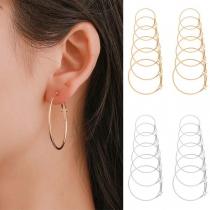 Simple Style Circle-shaped Stud Earring Set 6 pcs/Set
