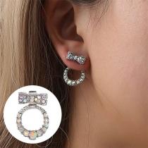Sweet Style Rhinestone Inlaid Bow-knot Shaped Stud Earrings