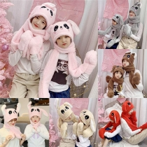 Zweiteiler für Kinder - Kapuze in kaninchen-förmigen Look + Schal