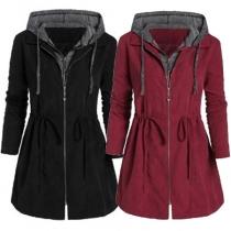 Fashion Contrast Color Long Sleeve Hooded Sweatshirt Coat