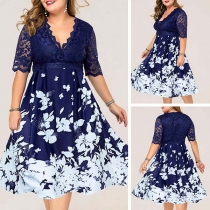 Sexy Lace Spliced Short Sleeve V-neck Printed Dress
