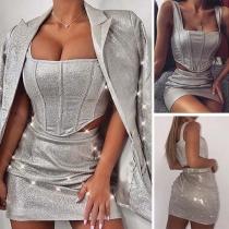 Sexy Backless Sling Crop Top + High Waist Skirt Two-piece Set