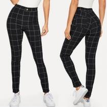 Fashion High Waist Slim Fit Plaid Pants