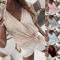 Fashion Sleeveless V-neck Lace-up Hem Dots Printed Top