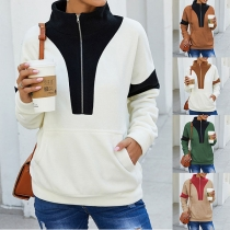 Fashion Contrast Color Long Sleeve Stand Collar Sweatshirt