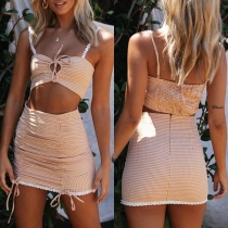 Sexy Backless Plaid Sling Crop Top + Skirt Two-piece Set