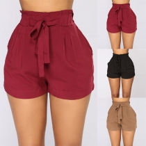 Fashion Solid Color High Waist Shorts with Waist Strap