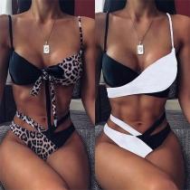 Sexy Contrast Color High Waist Bikini Set